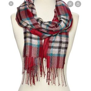 Buckle White Red Plaid Fringe Blanket Scarf